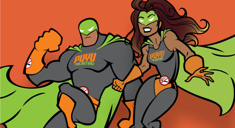 Cartoon image of the male and female Puyu Blaster hereos, together