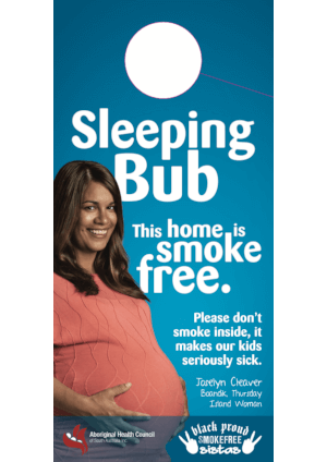 Sleeping bub door hanger with a text saying This home is smoke free
