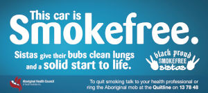 Smoke free car bumper sticker with a text saying This car is smokefree